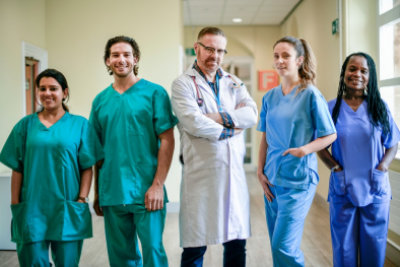 doctors and nurses smiling