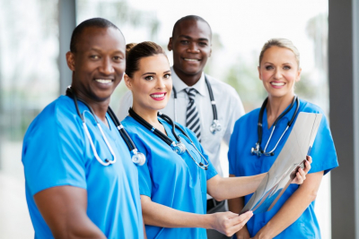 medical professionals smiling outdoor
