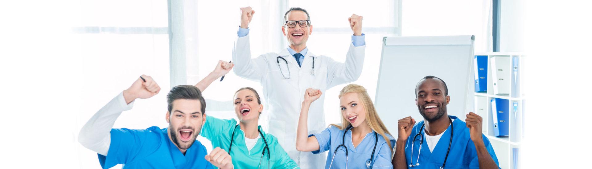 medical workers celebrating